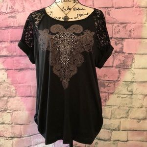 Tops - NWOT Black Embellished Top Ruching  & Lace 1x